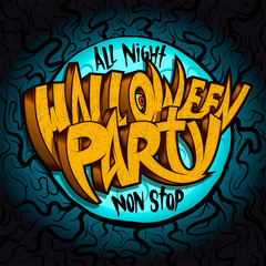 All night halloween party banner concept, invitation card
