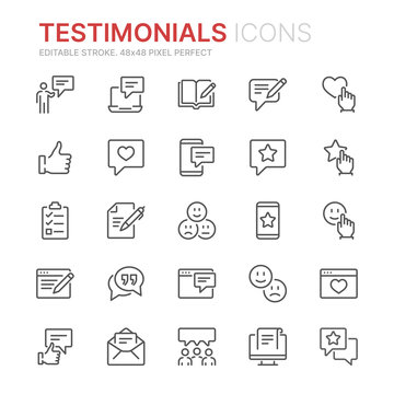 Collection of testimonials related line icons. 48x48 Pixel Perfect. Editable stroke