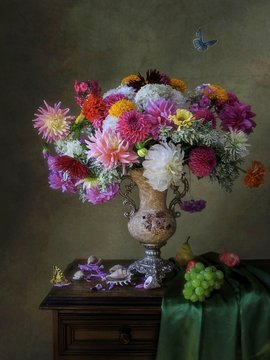 Still life with splendid bouquet of flowers in Baroque style