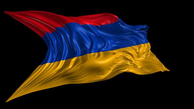 3d Illustration of Armenia flag on Black Background