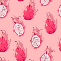 Seamless pattern with high detail dragon fruit
