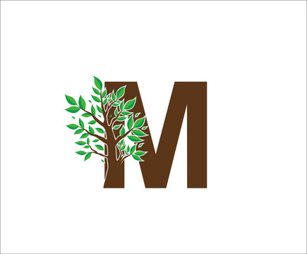 Abstract M Logo Letter Made From Brown Tree Branches with green leaves. Tree Letter Design with Minimalist Creative Style.