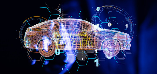 digital car technology smart in virtuel room