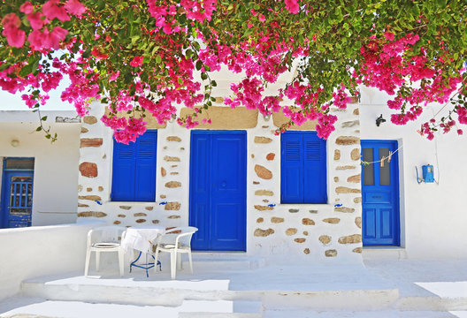 traditional yard with bougainvilleas at Ano Koufonisi island Cyclades Greece