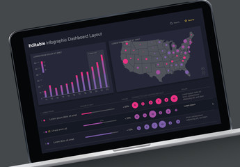 Editable Infographic Dashboard Layout with Dark Background