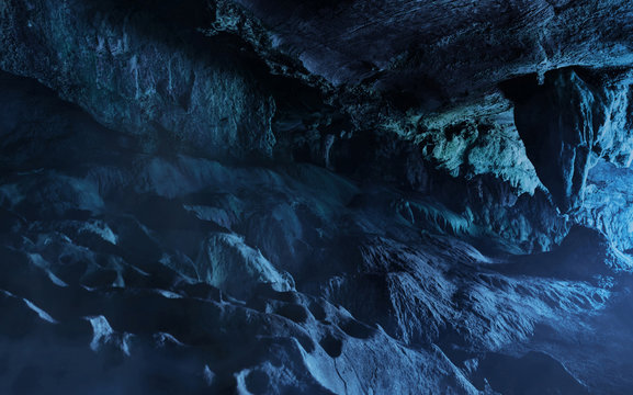 Inside the dark stone cave