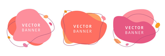 Set of abstract vector modern background. Geometric illustration template background. Flat colorful liquid shape.