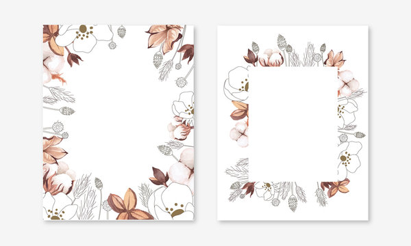 Wedding invitation set. arrangement of cotton boll, cotton branch, wild grass and dried flower in hand painted watercolour and line art style (mix). Isolated on white background