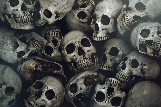 Pile of human skull background