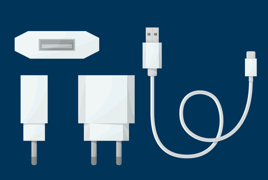 Smartphone USB charger adapter in different view with USB Micro cable. Vector illustration in cartoon style.