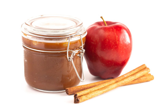 Jar of Cinnamon Apple Butter Isolated on a White Background