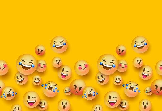 3D fun emoji icon seamless pattern background