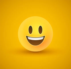 Happy smile yellow emoticon face in 3d background