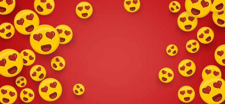 Love heart eye yellow smiley face copyspace banner