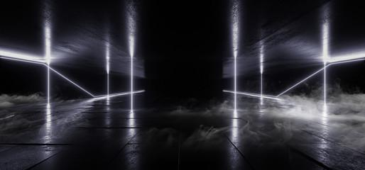 Smoke Sci Fi Lines Arc Spaceship Glowing Neon White Blue Futuristic Virtual Grunge Concrete Cement Reflective Dark Night Tunnel Corridor Hallway Gate Ceiling Floor 3D Rendering Wall mural