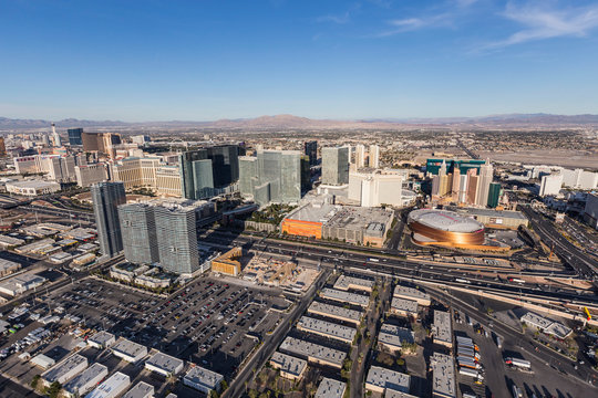 Aerial view of Interstate 15, Aria, New York, New York and other casino resort towers on March 13, 2017 in Las Vegas, Nevada, USA.