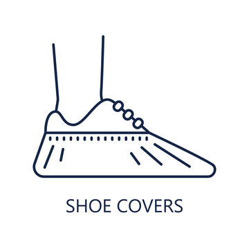 Shoe covers icon. Protective medical covers. Sign isolated on white. Vector illustration in line style