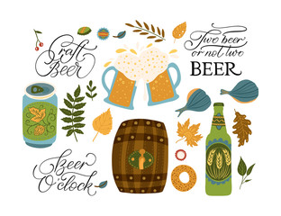 Beer festival vector illustrations with lettering quotes. Oktoberfest icon collections with barrel, beer glass, wheat, flag and accordion.
