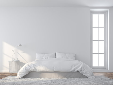 Bright white bedroom 3d render,There are wooded floor and  white empty wall,Furnished with white bed set.sunlight shining into the room.