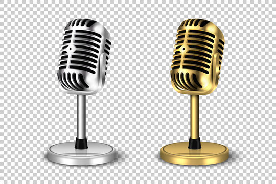Vector 3d Realistic Retro Steel Metal Silver and Golden Concert Vocal Microphone with Stand Icon Set Closeup Isolated on Transparent Background. Design Template of Vintage Karaoke Mike. Front View