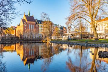 Beautiful buildings stretched alongside Svartan river in Orebro, Sweden Fototapete
