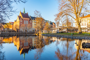 Beautiful buildings stretched alongside Svartan river in Orebro, Sweden