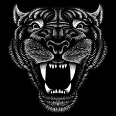 The Vector logo lion for tattoo or T-shirt print design or outwear.  Hunting style lions background. This drawing is for black fabric or canvas.