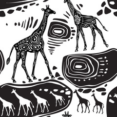 Seamless pattern with Giraffes and ethnic motifs