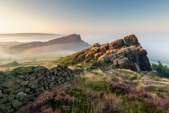 The Roaches in the Peak District National Park England during a summer sunrise