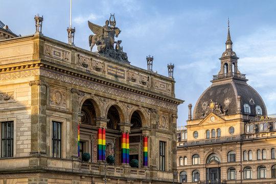 Copenhagen landmark during LGBT Pride Weekend