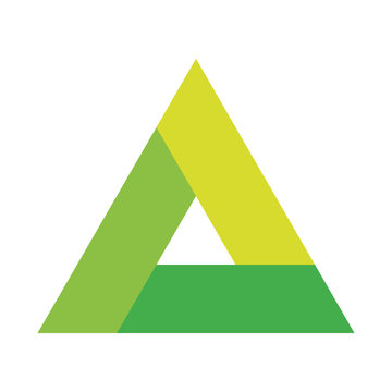 Triangle vector icon with three overlapping sides and rounded corners. Green gradient illustration