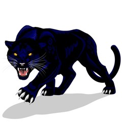 Door stickers Draw Black Panther Spirit Roaring Vector illustration isolated on white.