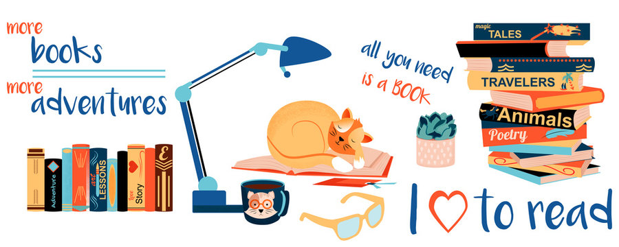 vector set collection design cute elegant hand drawn concept with books. Textbooks for academic studies, cute cats, houseplant, glasses. Flat cartoon colorful vector illustration.