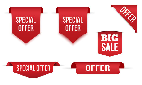 Set of Red banner special offer Isolated on white background, for your design web site and branding banner.