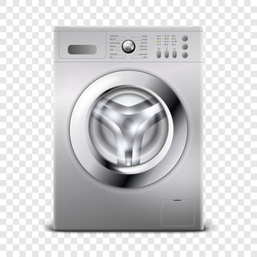 Vector 3d Realistic Modern Silver Steel Closed Washing Machine Icon Closeup Isolated on Transparent Background. Design Template of Wacher. Front View, Laundry Concept