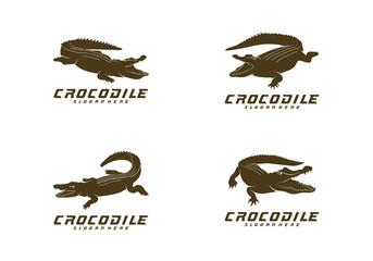 Set of Crocodile Logo Vector. Alligator emblem template Illustration