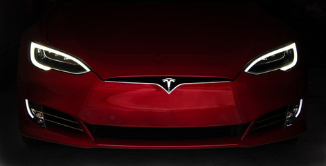 Red Tesla Model S Front Nose Cone