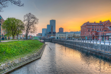 Sunset view of the main train station in Malmo, Sweden