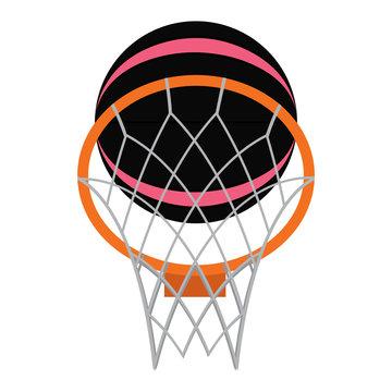 abstract basketball ball and basket