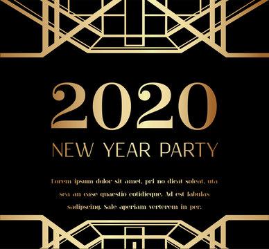 2019 New Year Party Art Deco Invitation Design