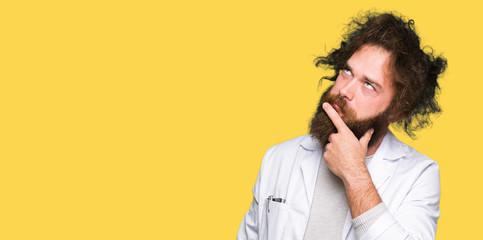 Crazy scientist with funny long hair with hand on chin thinking about question, pensive expression. Smiling with thoughtful face. Doubt concept.