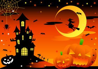 ハロウィン・お城と魔女とジャックオーランタンのイラスト