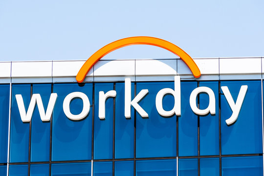 August 25, 2019 Pleasanton / CA / USA - Close up of Workday sign at their headquarters; Workday, Inc. is an on‑demand (cloud-based) financial management and human capital management software vendor