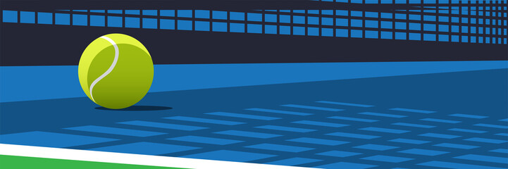 Fototapeta Vector Illustration for a tennis Ball On Court with shadow and highlight obraz