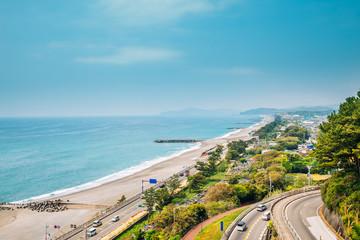 Katsurahama beach and cityscape in Kochi, Shikoku, Japan