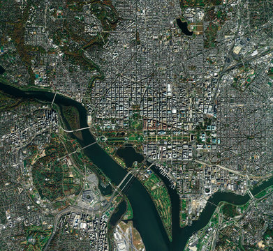 High resolution Satellite image of Washington DC, USA (Isolated imagery of USA. Elements of this image furnished by NASA)