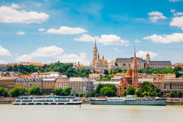 Buda district Fisherman's Bastion and St. Matthias Church with Danube river in Budapest, Hungary