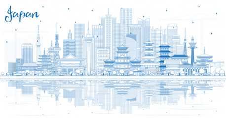 Wall Mural - Outline Welcome to Japan Skyline with Blue Buildings and Reflections.