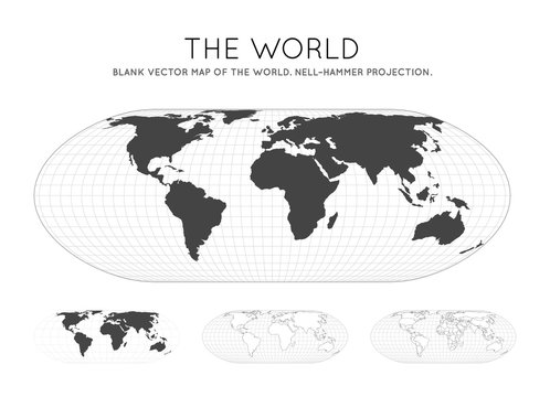 Map of The World. Nell-Hammer projection. Globe with latitude and longitude lines. World map on meridians and parallels background. Vector illustration.