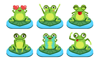 Green Funny Frog Characters Set, Cute Amphibian in Different Activities Vector Illustration